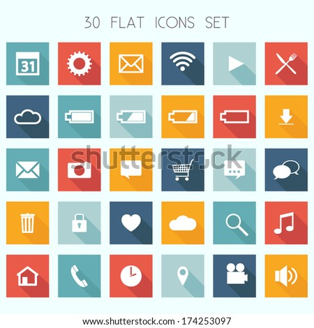Thirty Flat Design Icons Set - Web, Mobile, App - vector EPS10 - stock vector