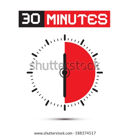 Thirty Minutes Stop Watch - Clock Vector Illustration - stock vector