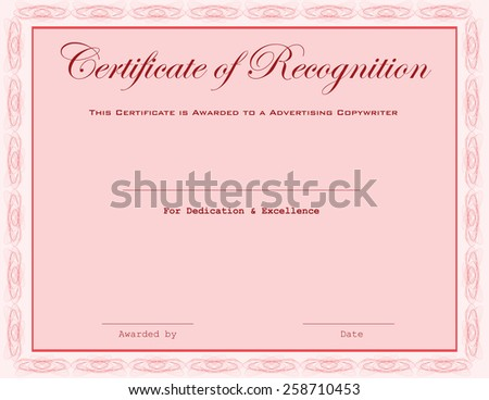 This certificate is awarded to a Advertising Copywriter.  - stock vector