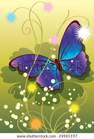 this illustration depicts beautiful plants and butterfly - stock vector