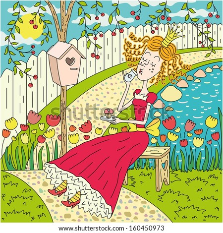 This illustration has  lovely princess  in summer garden , - stock vector