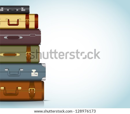This image is a vector file representing a collection of travel suitcases. / Travel Suitcases - stock vector