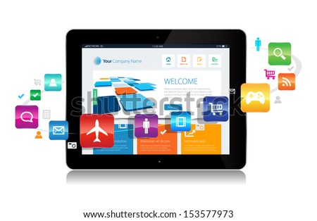This image is a vector file representing a internet apps concept. / Internet Cloud / Internet Cloud - stock vector