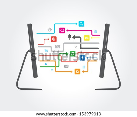 This image is a vector file representing a network cloud connection illustration. / Network Cloud Connection / Network Cloud Connection - stock vector