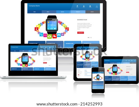 This image is a vector file representing a responsive design concept on various media devices./Responsive Design Concept/Responsive Design Concept - stock vector