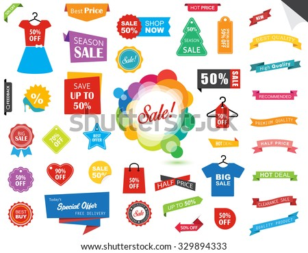 This image is a vector file representing a Sale Label Tag Sticker Banner collection set./Sale Label Tag Sticker Banner/Sale Label Tag Sticker Banner - stock vector