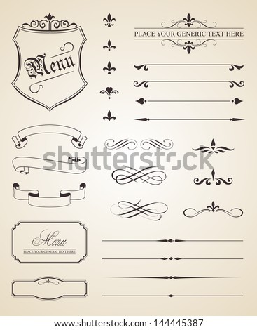 This image is a vector file representing a set of calligraphic and page decoration elements - stock vector