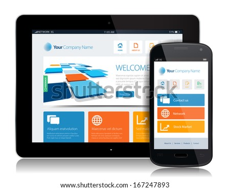 This image is a vector file representing a smartphone  and a tablet with a responsive design website. / Smartphone Tablet Internet / Smartphone Tablet Internet - stock vector