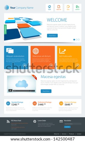 This image is a vector file representing a website template. / Metro Website Template / Metro Website Template - stock vector
