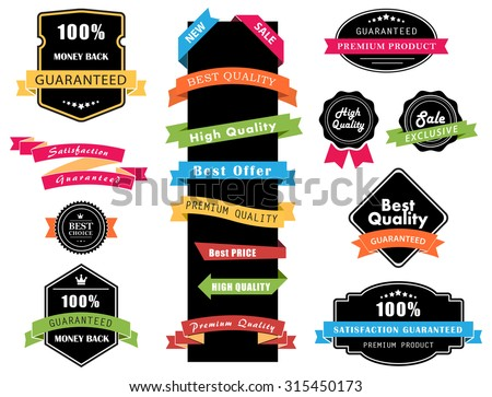 This image is a vector file representing Labels, Banners and Stickers collection set./Labels, Banners and Stickers/Labels, Banners and Stickers - stock vector