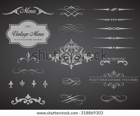 This image is a vector set that contains calligraphic elements, borders, page dividers, page decoration and ornaments./Vintage Vector Label Page Dividers and Borders/ Vector Label Dividers Borders - stock vector