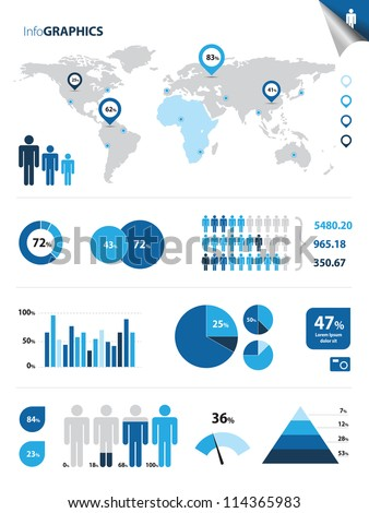 This image represents a collection of infographics elements./Infographics - stock vector