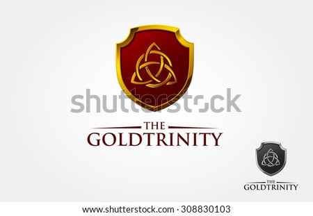 This is a Celtic ornament or Symbol and element design or sign of trinity with shield, this is a vector logo template. - stock vector