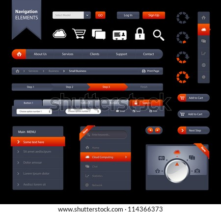 This is a set of customizable web elements like navigation bars, buttons, icons, form, labels, etc./Navigation Elements - stock vector