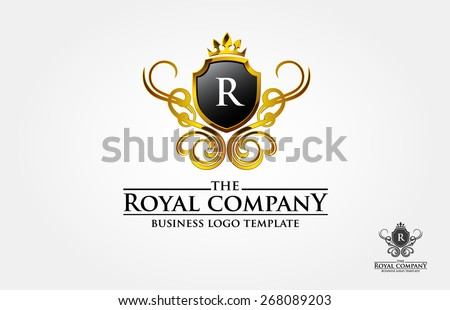 This is a vintage logo with the letter of R, the ornament look like made from gold on 3 D effect. but it's also available in simple print version. We also change the with other initial. - stock vector