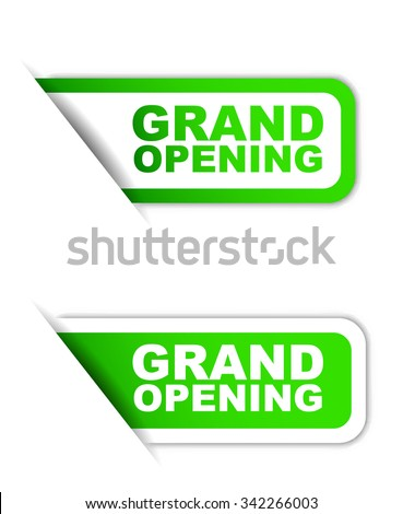 This is green vector paper element sticker grand opening in two variant - stock vector