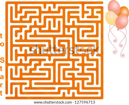 This is Illustration Of Balloon Maze - stock vector