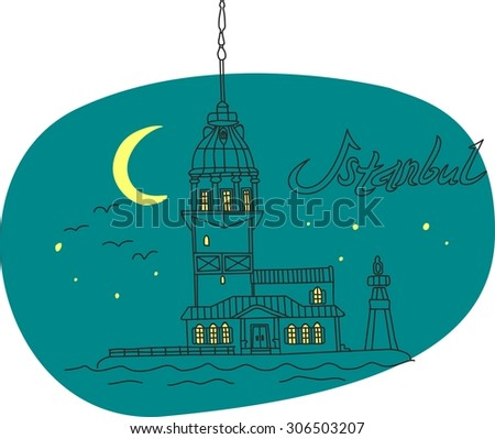 This is perfect linear hand drawn style illustration of Lighthouse Bosphorus topic. The most famous landmark. Perfect for web, banners, advertising and at you will. - stock vector