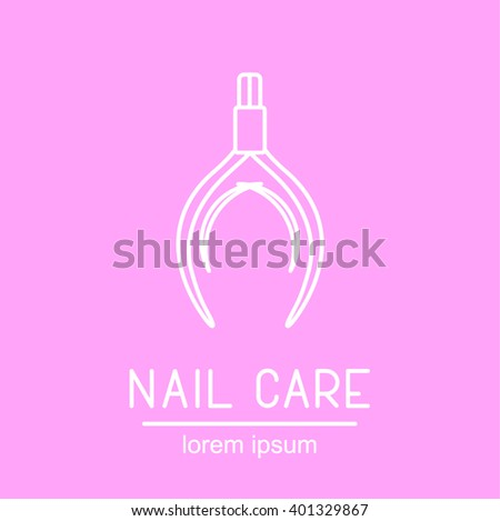 This is perfect linear illustration or logotype of manicure and pedicure topic. Good logotype for pedicure and manicure. There are tools for manicure and pedicure for your web needs.  - stock vector