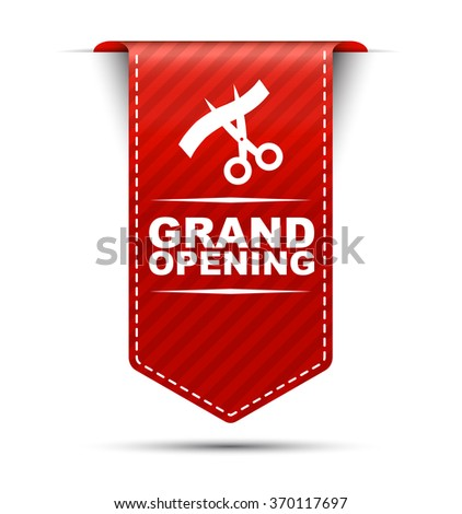 This is red vector banner design grand opening - stock vector