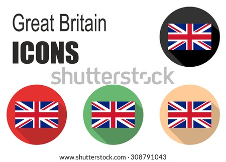 This is set flat icons great britain - stock vector