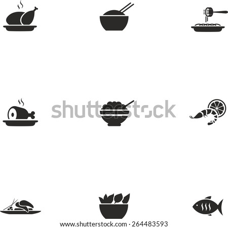 This is set of flat design icons of dishes topic. There are 9 flat icons, including chicken, eastern food or oriental cuisine, pasta, rice, ham, pan-asian food, shrimp, salad, fish - stock vector
