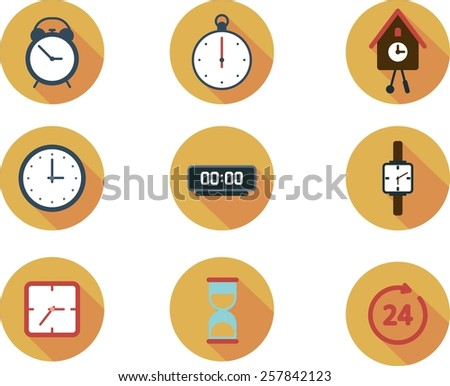 This is set of flat icons clock topic including service, timer, cuckoo clock, hair, round-the-clock, alarm, sand clock - stock vector