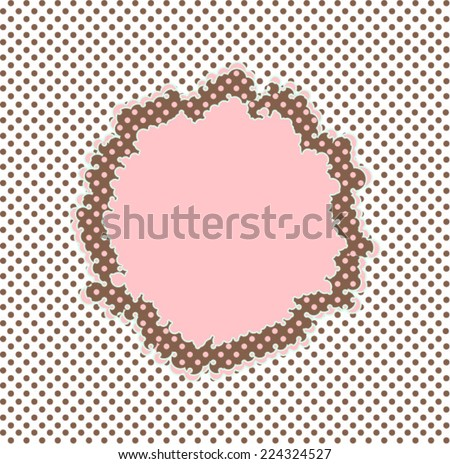 this pattern with polka dots romance feel of the sixties. pop art -style frame tag label for an illustration of this composition is feminine. print pattern vector. - stock vector