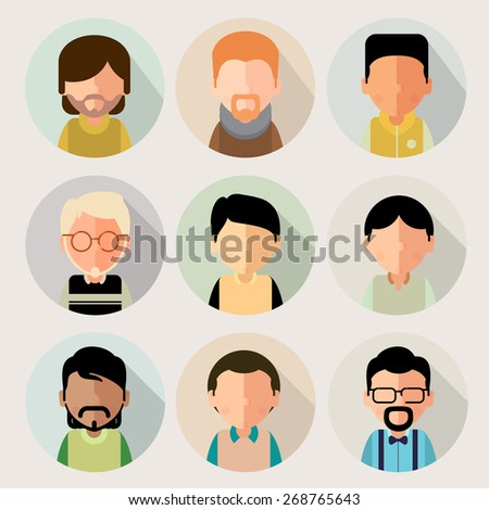 This set of stylized, simplified cartoon characters of boys. For avatars. eps8 - stock vector