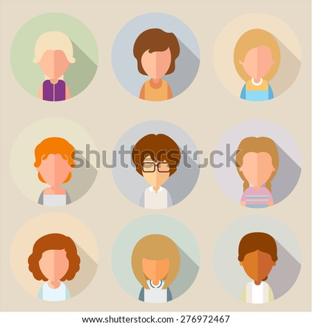 This set of stylized, simplified cartoon characters of girls. For avatars. eps8. Party of two. - stock vector
