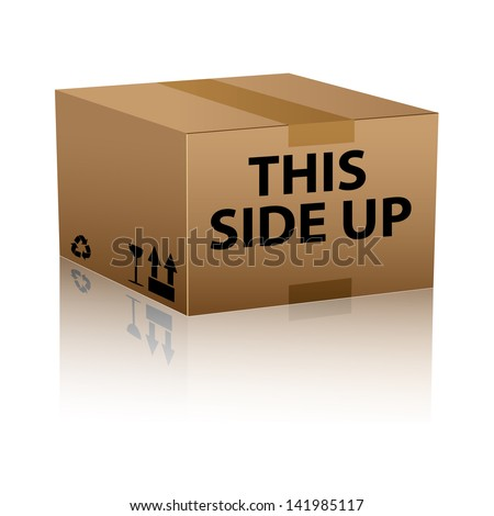 this side up package cardboard box - stock vector