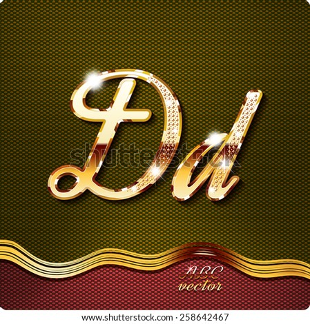 """This stylish gold cursive letters. There are inlaid with a capital """"D"""" and the lowercase letter """"d"""". They have shadows and highlights.The rest of numbers and letters of the alphabet in my portfolio. - stock vector"""