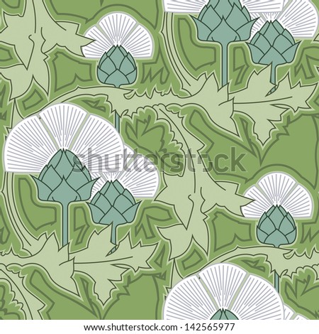 Thistle vector seamless pattern. Art Nouveau style floral texture. - stock vector