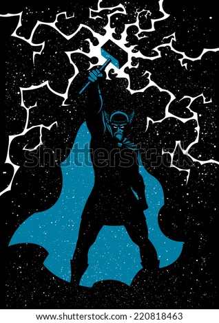 Thor: Vector illustration of Scandinavian god Thor in 3 colors. No transparency and gradients used.  - stock vector