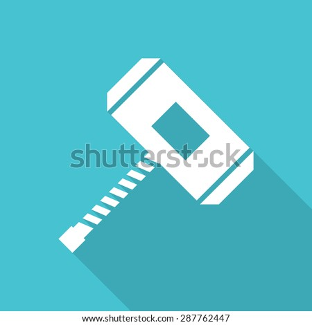 Thors Hammer flat icon with long shadow. - stock vector