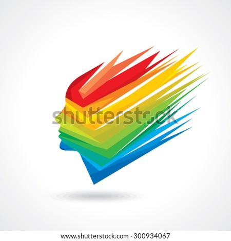 Thoughts and options. vector illustration of colorful head - stock vector