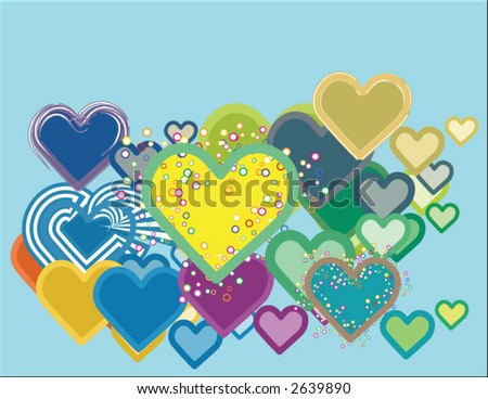 thousand hearts - stock vector