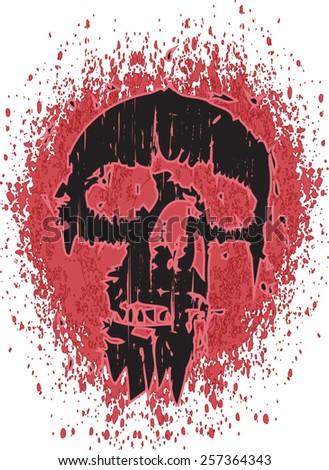 thrashed skull - stock vector