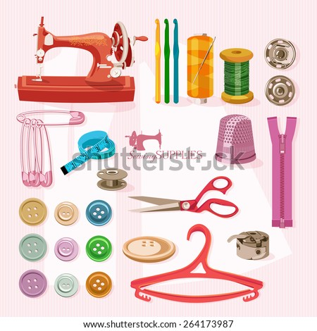 Thread for sewing, supplies and accessories for sewing on light pink background.  Vector sewing equipment - stock vector