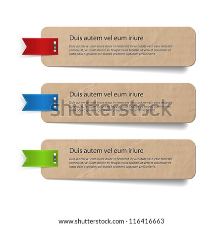 Three abstract vintage old paper banners / stickers / badges with ribbons attached with steel brackets - stock vector