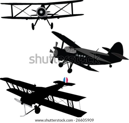three aircrafts silhouette - vector - stock vector