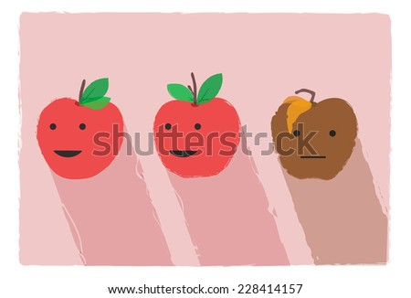 Three apples on pink background and long shadows: two red good fruits with green leaves and one brown rot apple with yellow blasted leaves. Conceptual illustration, for justice or bullying concept - stock vector