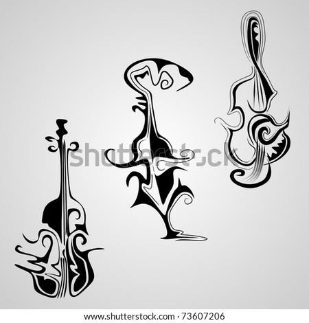 three artistic violins - stock vector