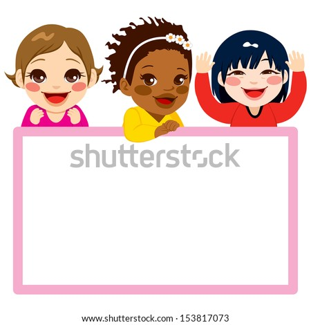 Three baby girls of different ethnicities with a pink frame white billboard - stock vector