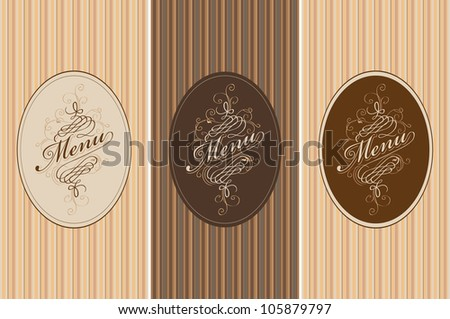 three banners for the menu on the striped background - stock vector