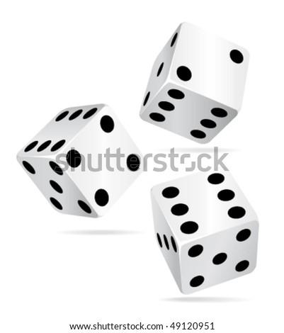Three beautiful dices. Vector icon. - stock vector