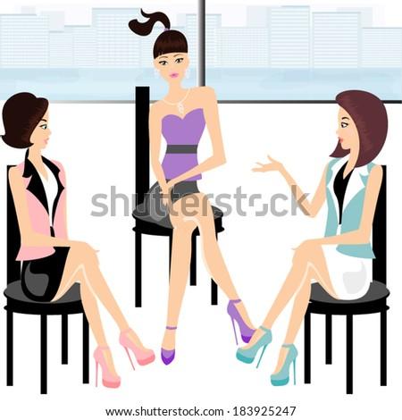 Three beautiful friends - stock vector