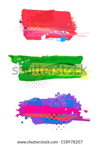 Three beautiful grunge banners. Vector. - stock vector
