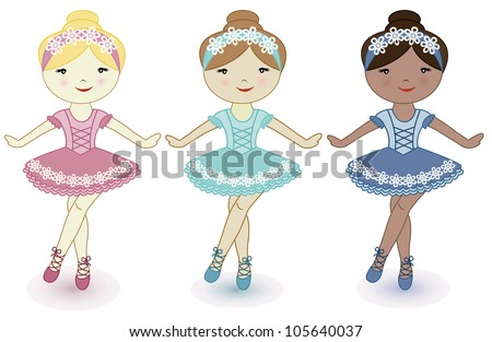 Three beautiful lovely girls of ballerinas - stock vector