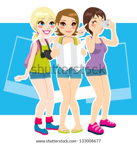 Three beautiful tourist girls happy taking photos and enjoying their vacation destination - stock vector